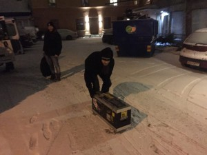 Moving shit in the snow